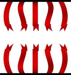Red Ribbon Vertical Banner Set vector image