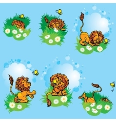 Set hand drawn images with funny lion play with vector image