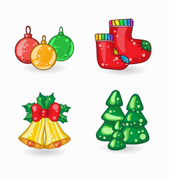 set of christmas cartoon icons vector image