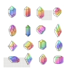 Set of non-linear crystals vector image vector image