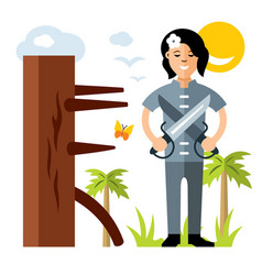 wing chun kung fu girl with two swords vector image