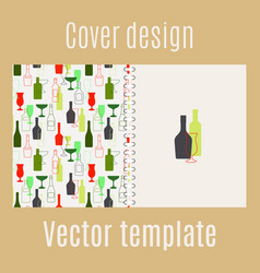 cover design with bar drinks silhouette vector image