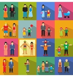 Family flat icons vector image vector image