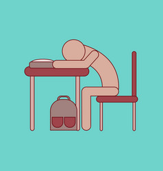 flat icon with thin lines student sleeping at desk vector image vector image