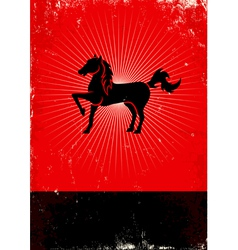 Horse red poster vector image