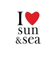 i love sun and sea icon vector image