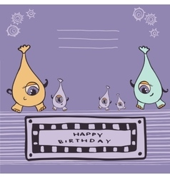 Pink monsters happy birthday vector