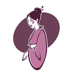 portrait of beautiful geisha for your logo vector image vector image