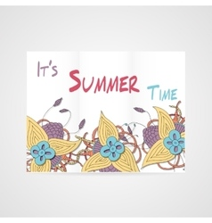 Summers brochure with abstract hamd drawn flower vector image