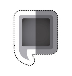 grayscale sticker of square speech with tail vector image vector image