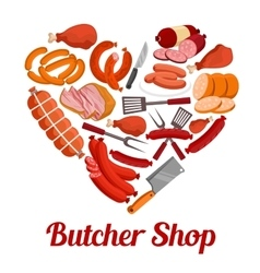Heart of sausage ham and bacon poster design vector image vector image