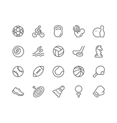 Line Sport Equipment Icons vector image