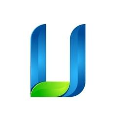U letter leaves eco logo volume icon vector image vector image