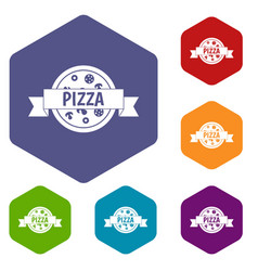 pizza label with ribbon icons set hexagon vector image vector image