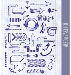 Set of arrow on notepad background vector image