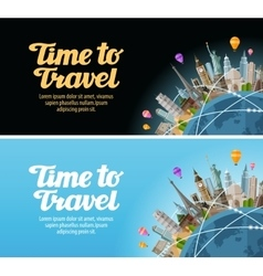 Travel to world Landmarks on the globe Journey vector image