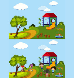 two scenes of playground with and without kids vector image