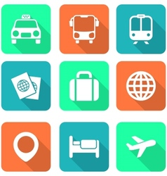 White Travel Icons with Long Shadows vector image