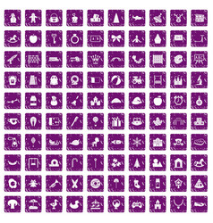 100 nursery school icons set grunge purple vector
