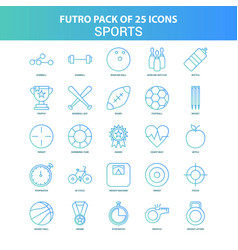 25 green and blue futuro sports icon pack vector