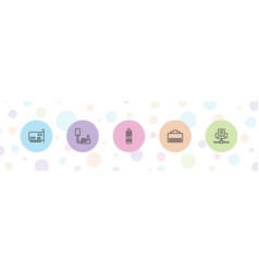 5 universal icons vector