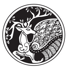 A druidic astronomical symbol of a deer vector