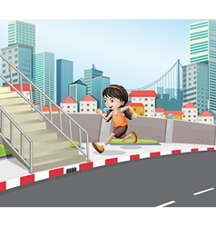 A girl running at the street near the stairs vector