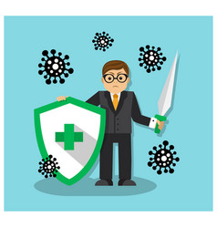 A man with shield and sword fights virus vector