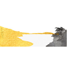 abstract landscape art with gold and black vector image