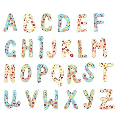 Alphabet floral set vector image