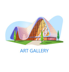 Art gallery or museum building exhibition studio vector