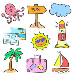 Art summer element doodles vector