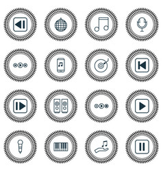Audio icons set collection of gramophone note vector