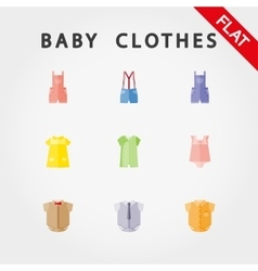 Baby clothe icons vector image