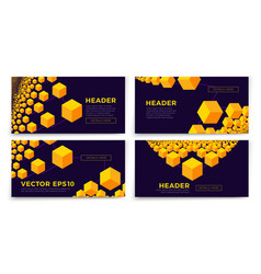 banner templates - bright isometric chain vector image