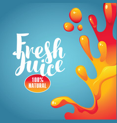 banner with inscription fresh juices and splashes vector image