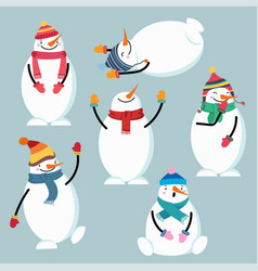 beautiful flat design snowman collection vector image