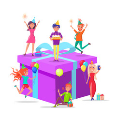 birthday present prepared by people with cake vector image