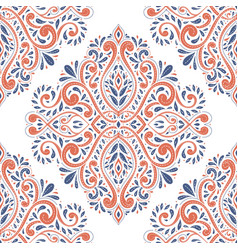 Blue and orange antique floral vector