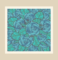 Blue roses with border vector image