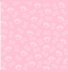 bone and spoor of dog wallpaper on pink background vector image