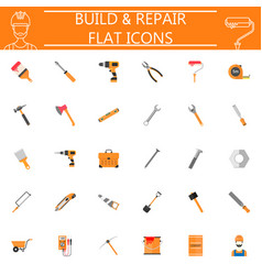 build and repair flat icon set vector image