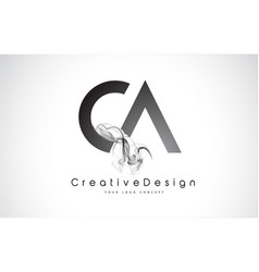 Ca letter logo design with black smoke vector