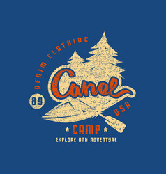 canoe camp emblem for t-shirt vector image