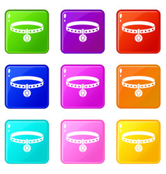 cat collar icons 9 set vector image