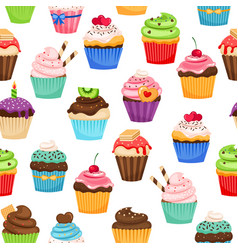 Chocolate cupcakes seamless pattern vector