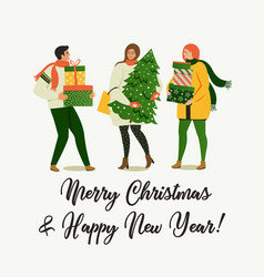 christmas and happy new year people are preparing vector image