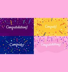 congratulations confetti banner congrats card vector image