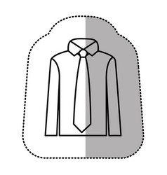 contour tie with shirt icon vector image