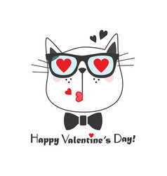 cute kissing cat face icon with heart eye glasses vector image